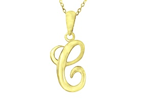 Script initial C Polished 18k Yellow Gold Over Sterling Silver Pendant With 18 inch Chain