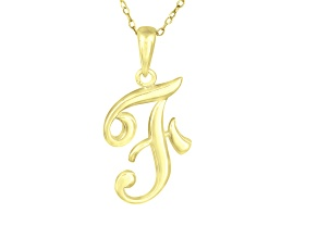 "Script initial ""F"" Polished 18k Yellow Gold Over Sterling Silver Pendant With 18 inch Chain"