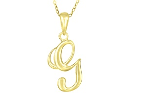 Script initial G Polished 18k Yellow Gold Over Sterling Silver Pendant With 18 inch Chain