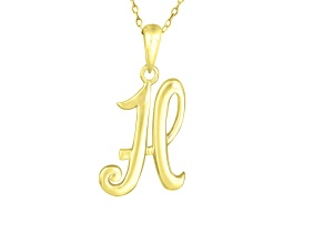 Script initial H Polished 18k Yellow Gold Over Sterling Silver Pendant With 18 inch Chain