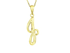 Script initial J Polished 18k Yellow Gold Over Sterling Silver Pendant With 18 inch Chain