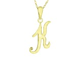 Script initial K Polished 18k Yellow Gold Over Sterling Silver Pendant With 18 inch Chain