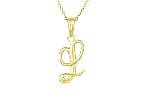 Script initial L Polished 18k Yellow Gold Over Sterling Silver Pendant With 18 inch Chain