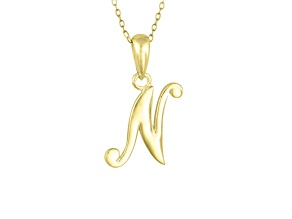 Script initial N Polished 18k Yellow Gold Over Sterling Silver Pendant With 18 inch Chain