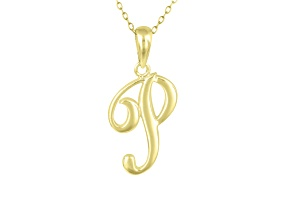 Script initial P Polished 18k Yellow Gold Over Sterling Silver Pendant With 18 inch Chain