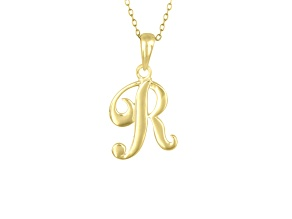 Script initial R Polished 18k Yellow Gold Over Sterling Silver Pendant With 18 inch Chain
