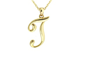 Script initial T Polished 18k Yellow Gold Over Sterling Silver Pendant With 18 inch Chain