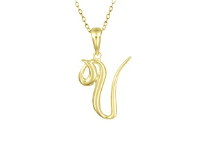 Script initial V Polished 18k Yellow Gold Over Sterling Silver Pendant With 18 inch Chain