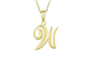 Script initial W Polished 18k Yellow Gold Over Sterling Silver Pendant With 18 inch Chain