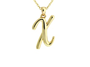 Script initial X Polished 18k Yellow Gold Over Sterling Silver Pendant With 18 inch Chain