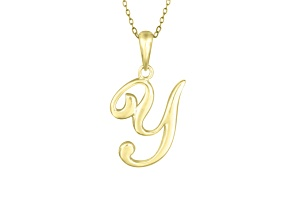 Script initial Y Polished 18k Yellow Gold Over Sterling Silver Pendant With 18 inch Chain