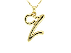 Script initial Z Polished 18k Yellow Gold Over Sterling Silver Pendant With 18 inch Chain