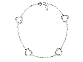 Hollow Heart Sterling Silver Adjustable 9 inch Station Anklet
