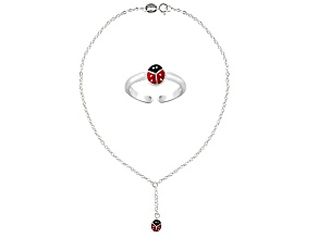 Red Enamel Ladybug Toe Ring And Hanging Ladybug 10 inch Anklet Two-Tone Sterling Silver Set