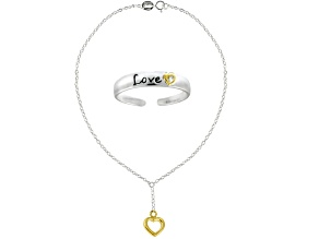 """Inspirational """"Love"""" Toe Ring And Hanging Heart 10 inch Anklet Two-Tone Sterling Silver Set"""