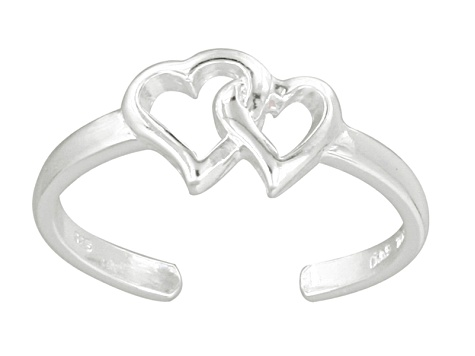 Double Hollow Heart Polished Sterling Silver Toe Ring
