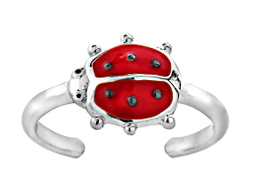 Red Enamel Ladybug Sterling Silver Toe Ring