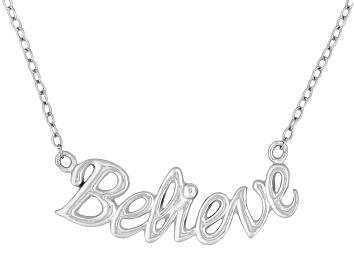 """Picture of """"Believe"""" Frontal Polished Sterling Silver 18 inch Necklace"""