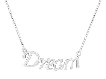 """Picture of """"Dream"""" Frontal Polished Sterling Silver 18 inch Necklace"""