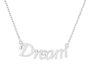 """Dream"" Frontal Polished Sterling Silver 18 inch Necklace"