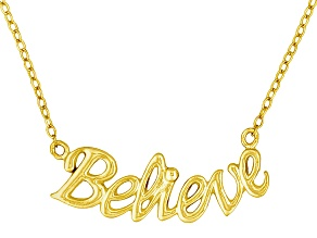 """Believe"" Frontal Polished 18k Yellow Gold Over Sterling Silver 18 inch Necklace"