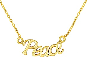 """Peace"" Frontal Polished 18k Yellow Gold Over Sterling Silver 18 inch Necklace"