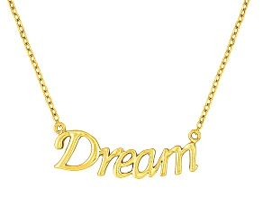 """Dream"" Frontal Polished 18k Yellow Gold Over Sterling Silver 18 inch Necklace"