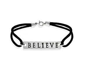 """""""Believe"""" Black Cord Sterling Silver 7 1/2 inch Bracelet"""