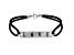 """""""Love"""" Black Cord Sterling Silver 7 1/2 inch Bracelet"""
