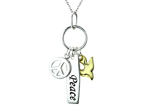 """""""Peace"""", Peace Sign, And Dove Sterling And 18k Yellow Gold Over Sterling Pendant With 18 inch Chain"""