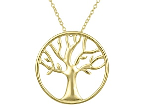 Tree Of Life Polished 18k Yellow Gold Over Sterling Silver 18 inch Necklace