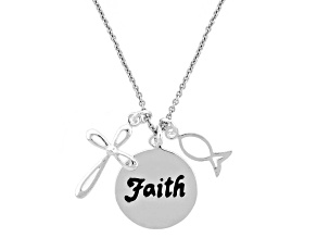 """Faith"", Cross, And Fish Sterling Silver 18 inch Necklace"