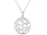 Tree Of Life Polished Sterling Silver Pendant With 18 inch Chain