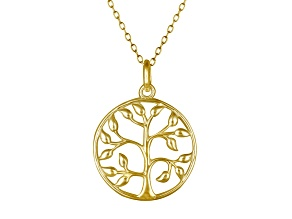 Tree Of Life Polished 18k Yellow Gold Over Sterling Silver Pendant With 18 inch Chain
