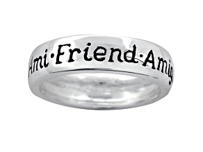 """Ami"", ""Friend"", And ""Amigo"" inscripted inspirational Sterling Silver Ring"