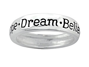 """Hope"", ""Dream"", And ""Believe"" inscripted inspirational Sterling Silver Ring"