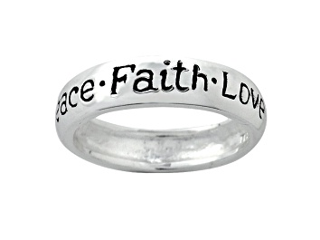 """Picture of """"Peace"""", """"Faith"""", And """"Love"""" inscripted inspirational Sterling Silver Ring"""