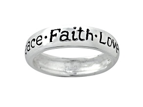 """""""Peace"""", """"Faith"""", And """"Love"""" inscripted inspirational Sterling Silver Ring"""