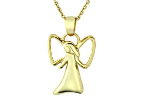 Hollow Wing Angel Polished 18k Yellow Gold Over Sterling Silver Pendant With 18 inch Chain