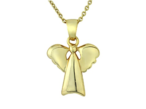 Polished 18k Yellow Gold Over Sterling Silver Angel Pendant With 18 inch Chain