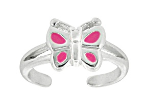 Pink Enamel Butterfly Sterling Silver Toe Ring