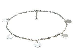 Circle Charms Polished Sterling Silver Adjustable 9 inch Anklet