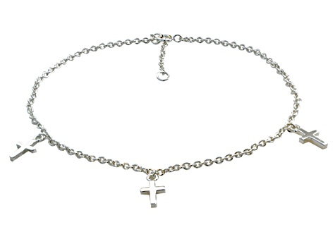 Cross Charms Polished Sterling Silver Adjustable 9 inch Anklet