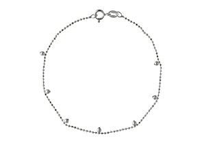 Sterling Silver Bead Link Anklet 9 inch