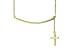 Hanging Cross Frontal Bar 18k Yellow Gold Over Sterling Silver Adjustable 16 inch Necklace