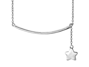 Hanging Star Frontal Bar Sterling Silver Adjustable 16 inch Necklace