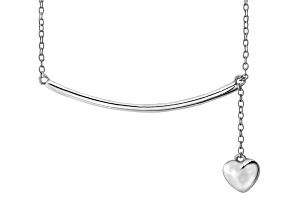 Hanging Heart Frontal Bar Sterling Silver Adjustable 16 inch Necklace