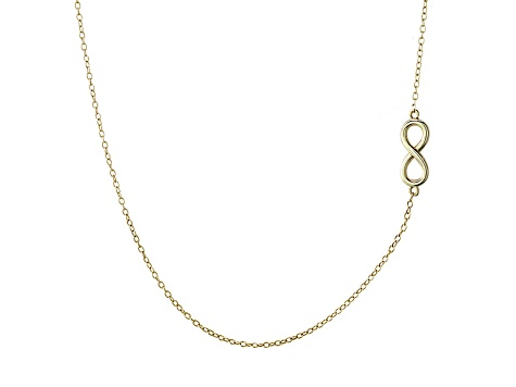 Infinity Design Polished 18k Yellow Gold Over Sterling Silver Adjustable 16 inch Station Necklace