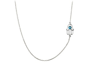 Blue Enamel Hamsa Design Polished Sterling Silver Adjustable 16 inch Station Necklace