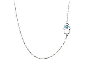 Blue Enamel Hamsa Design Polished Sterling Silver Adjustable 16 inch Station Necklace